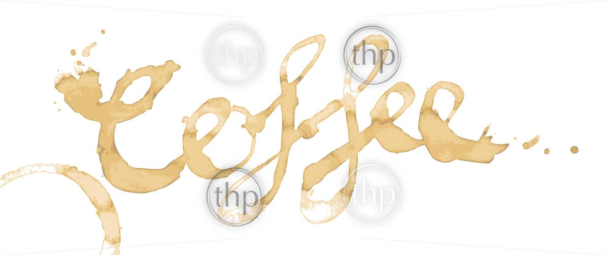 Coffee written as a word in coffee stains isolated on white in vector