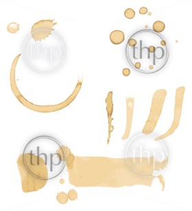 Set of coffee stains, drips and marks isolated on white in vector