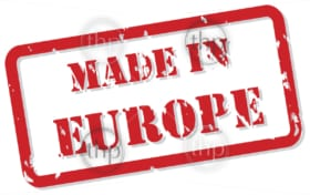 Red rubber stamp vector of Made In Europe