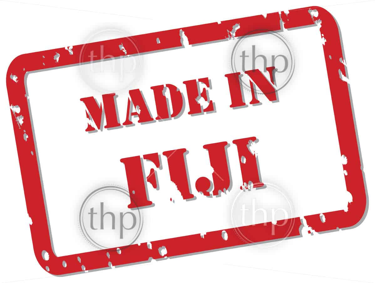 Red rubber stamp vector of Made In Fiji