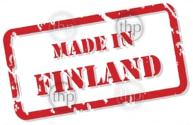 Red rubber stamp vector of Made In Finland