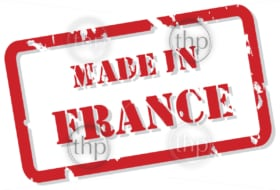 Red rubber stamp vector of Made In France