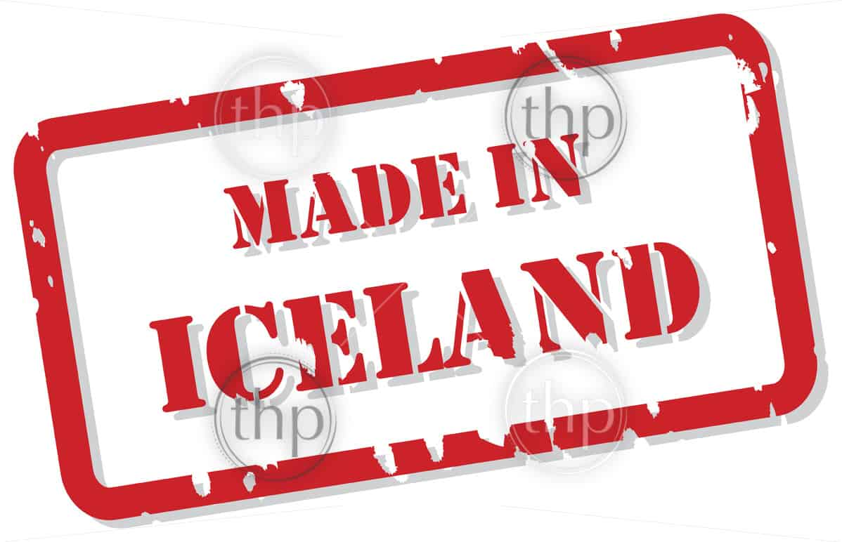 Red rubber stamp vector of Made In Iceland