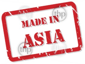 Red rubber stamp vector of Made In Asia