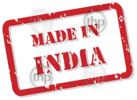Red rubber stamp vector of Made In India