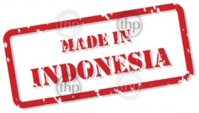 Red rubber stamp vector of Made In Indonesia