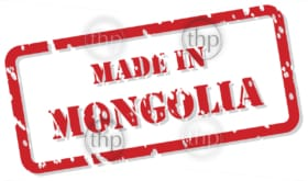 Red rubber stamp vector of Made In Mongolia