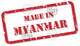 Red rubber stamp vector of Made In Myanmar