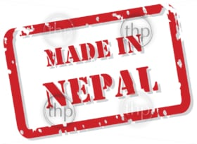 Red rubber stamp vector of Made In Nepal