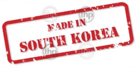 Red rubber stamp vector of Made In South Korea
