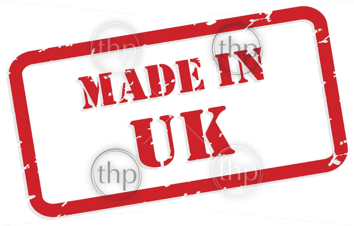 Red rubber stamp vector of Made In UK