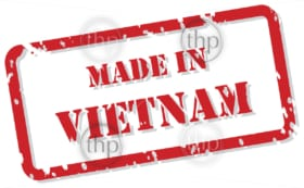 Red rubber stamp vector of Made In Vietnam