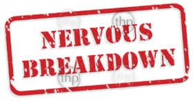 Nervous breakdown red rubber stamp vector for mental health concept