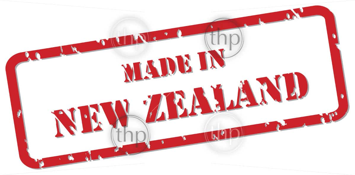 Red rubber stamp vector of Made In New Zealand