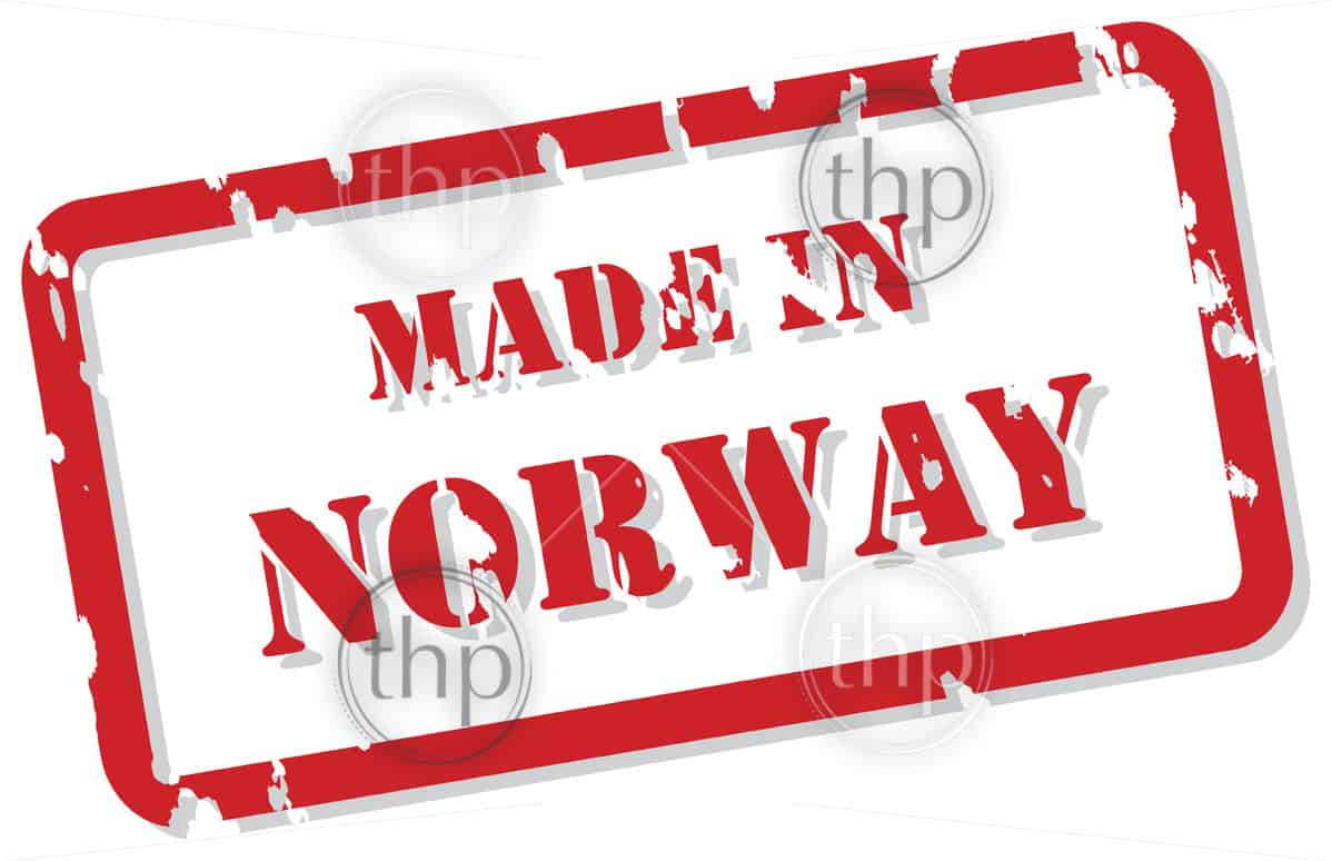 Red rubber stamp vector of Made In Norway