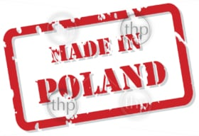 Red rubber stamp vector of Made In Poland
