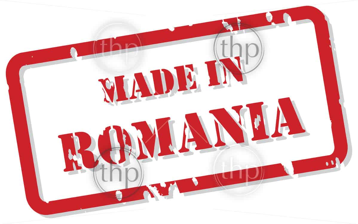 Red rubber stamp vector of Made In Romania