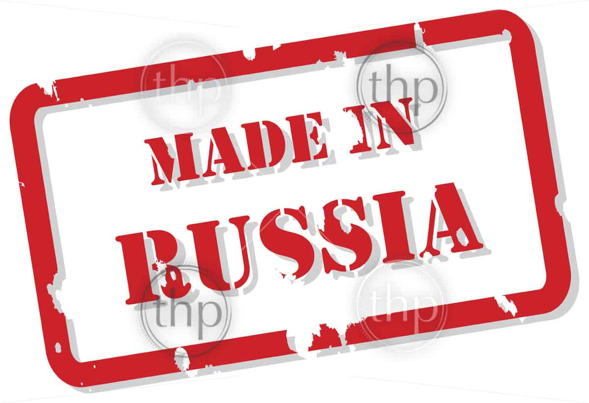 Red rubber stamp vector of Made In Russia