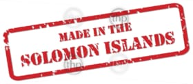 Red rubber stamp vector of Made In the Solomon Islands