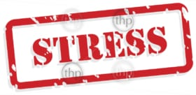 Stress red rubber stamp vector for mental health concept
