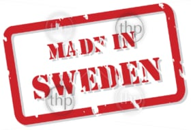 Red rubber stamp vector of Made In Sweden