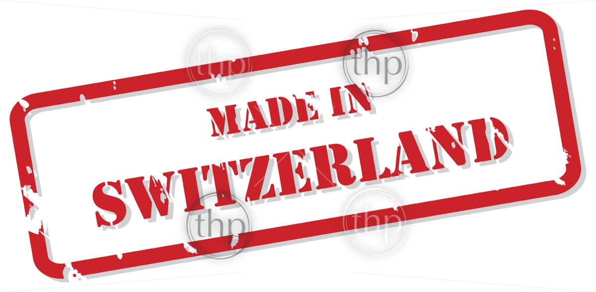 Red rubber stamp vector of Made In Switzerland