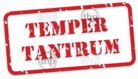 Temper tantrum red rubber stamp vector for mental health concept