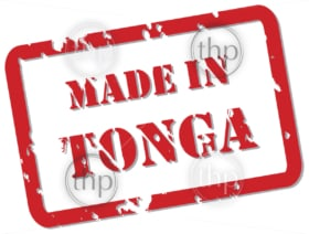 Red rubber stamp vector of Made In Tonga