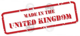 Red rubber stamp vector of Made In the UK