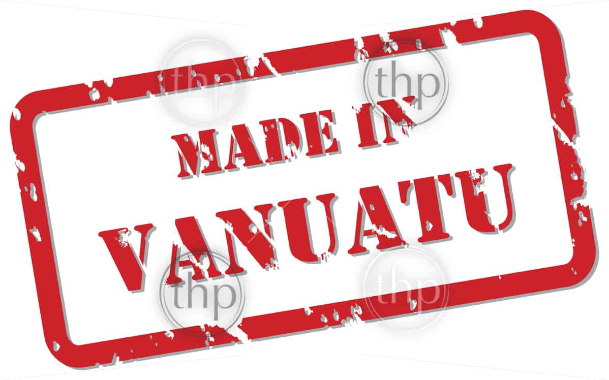 Red rubber stamp vector of Made In Vanuatu