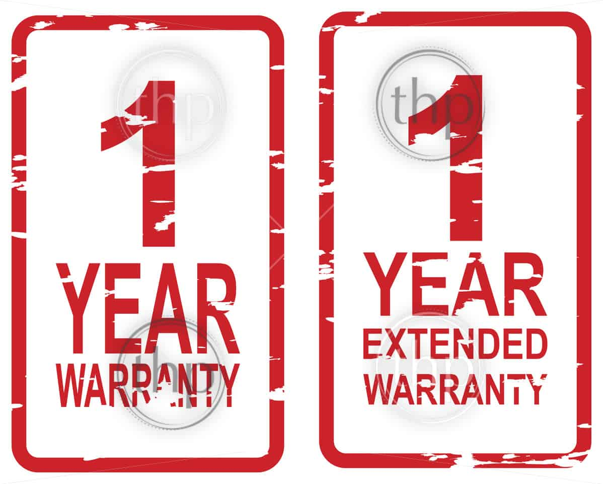 Red rubber stamp vector for 1 year warranty and extended warranty business concept