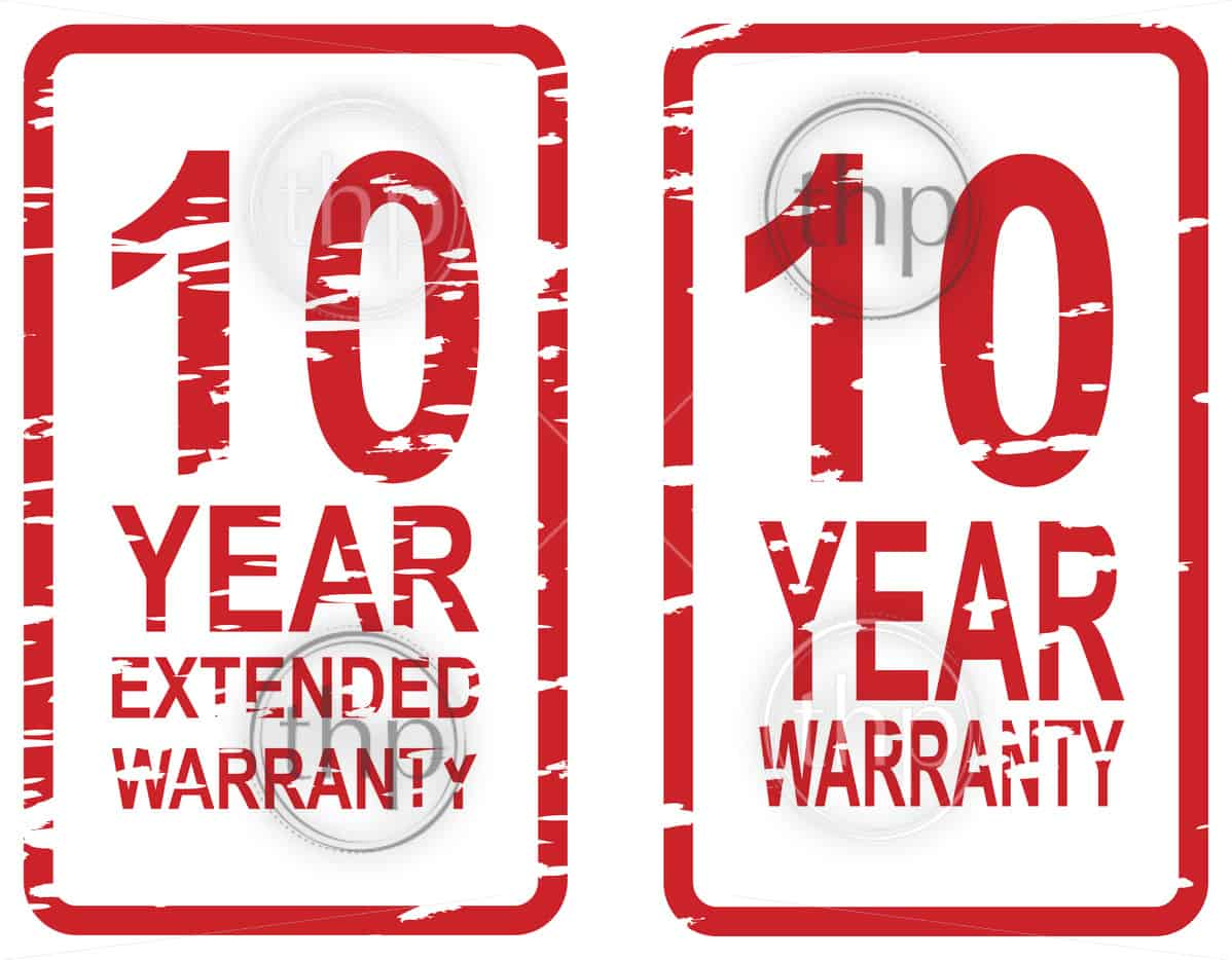 Red rubber stamp vector for 10 year warranty and extended warranty business concept