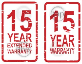 Red rubber stamp vector for 15 year warranty and extended warranty business concept