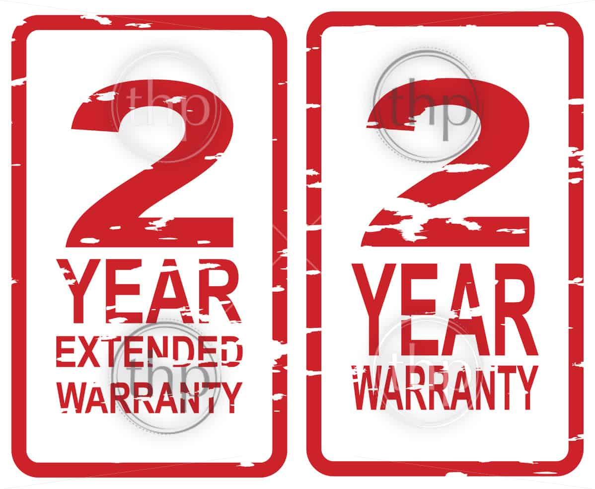 Red rubber stamp vector for 2 year warranty and extended warranty business concept