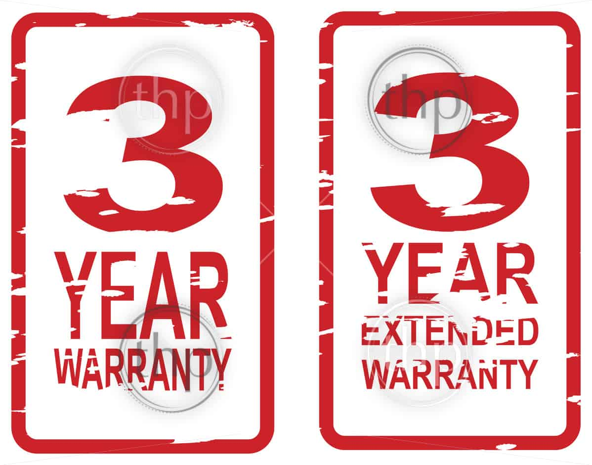 Red rubber stamp vector for 3 year warranty and extended warranty business concept