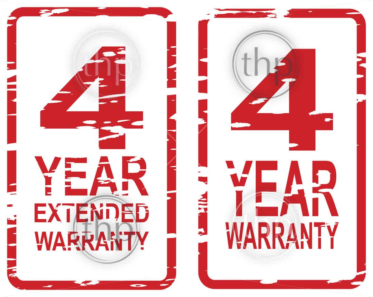 Red rubber stamp vector for 4 year warranty and extended warranty business concept
