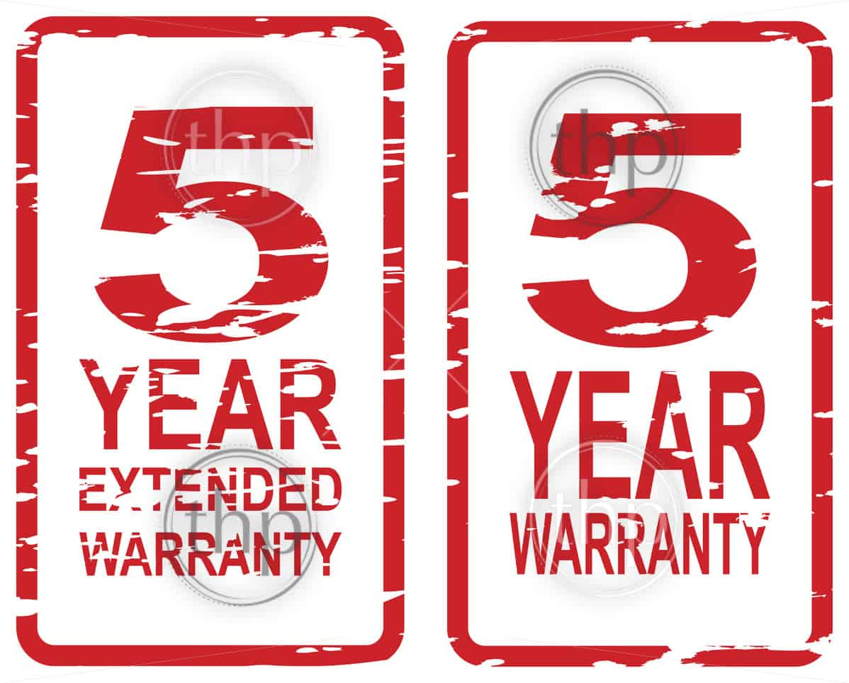 Red rubber stamp vector for 5 year warranty and extended warranty business concept