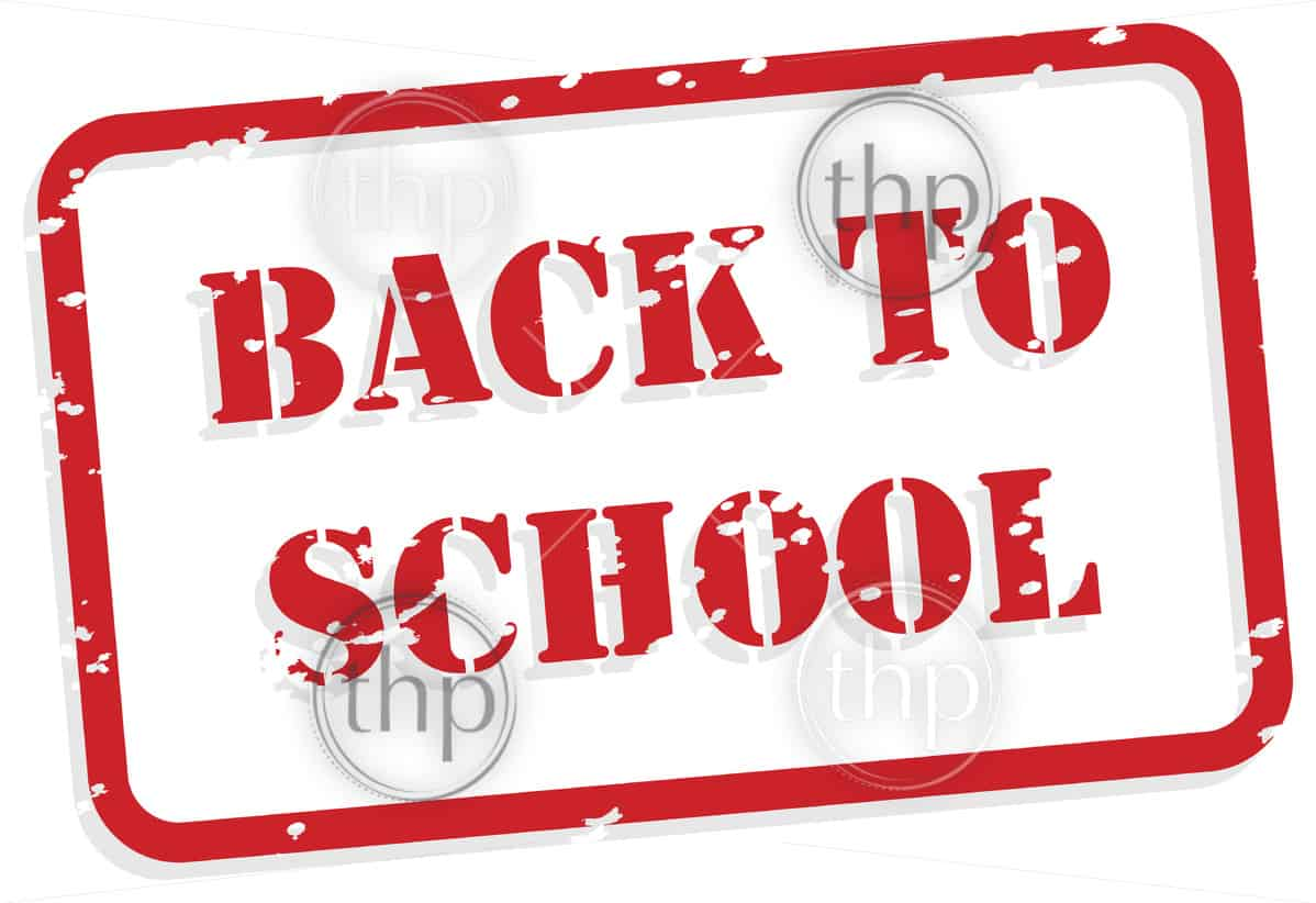 Back to school red rubber stamp in vector format