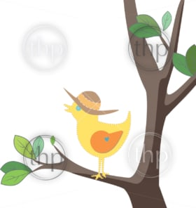 Cute yellow bird with a summer hat on a tree with green leaves in vector
