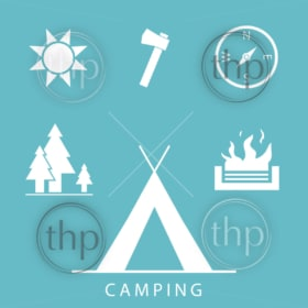 Camping icons set in simple, flat design style