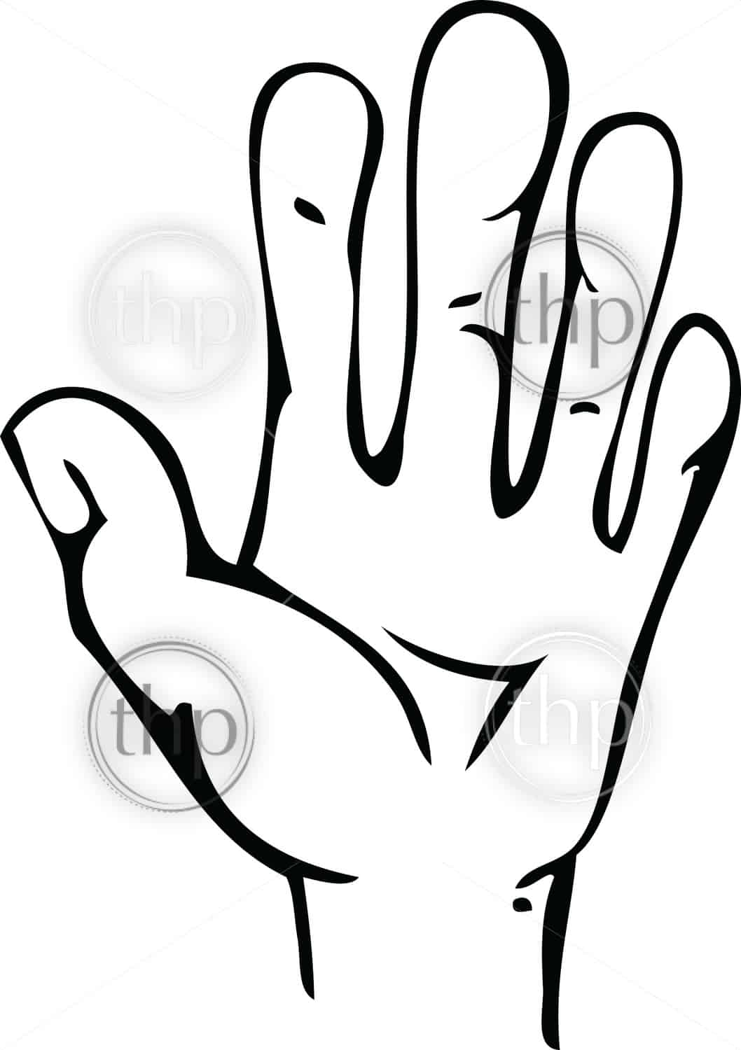 Cartoon line drawing of human hand with open palm