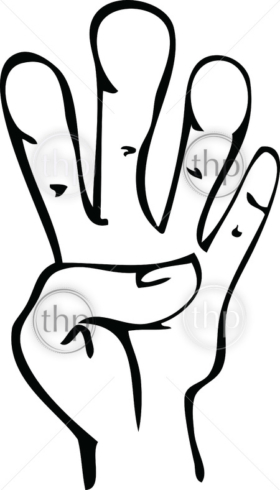Cartoon line drawing of human hand showing 4 fingers