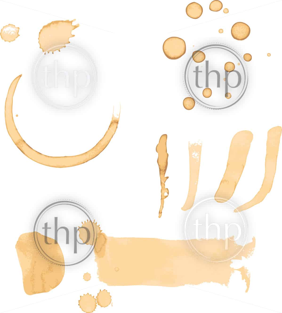 Coffee stains, drips and marks isolated on white in vector