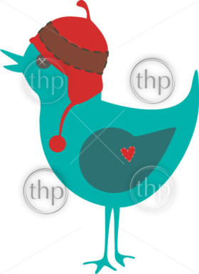 Cute bird vector wearing an earflap hat