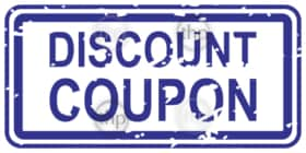 Blue rubber stamp vector for discount coupon business concept