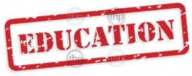 Education red rubber stamp in vector format
