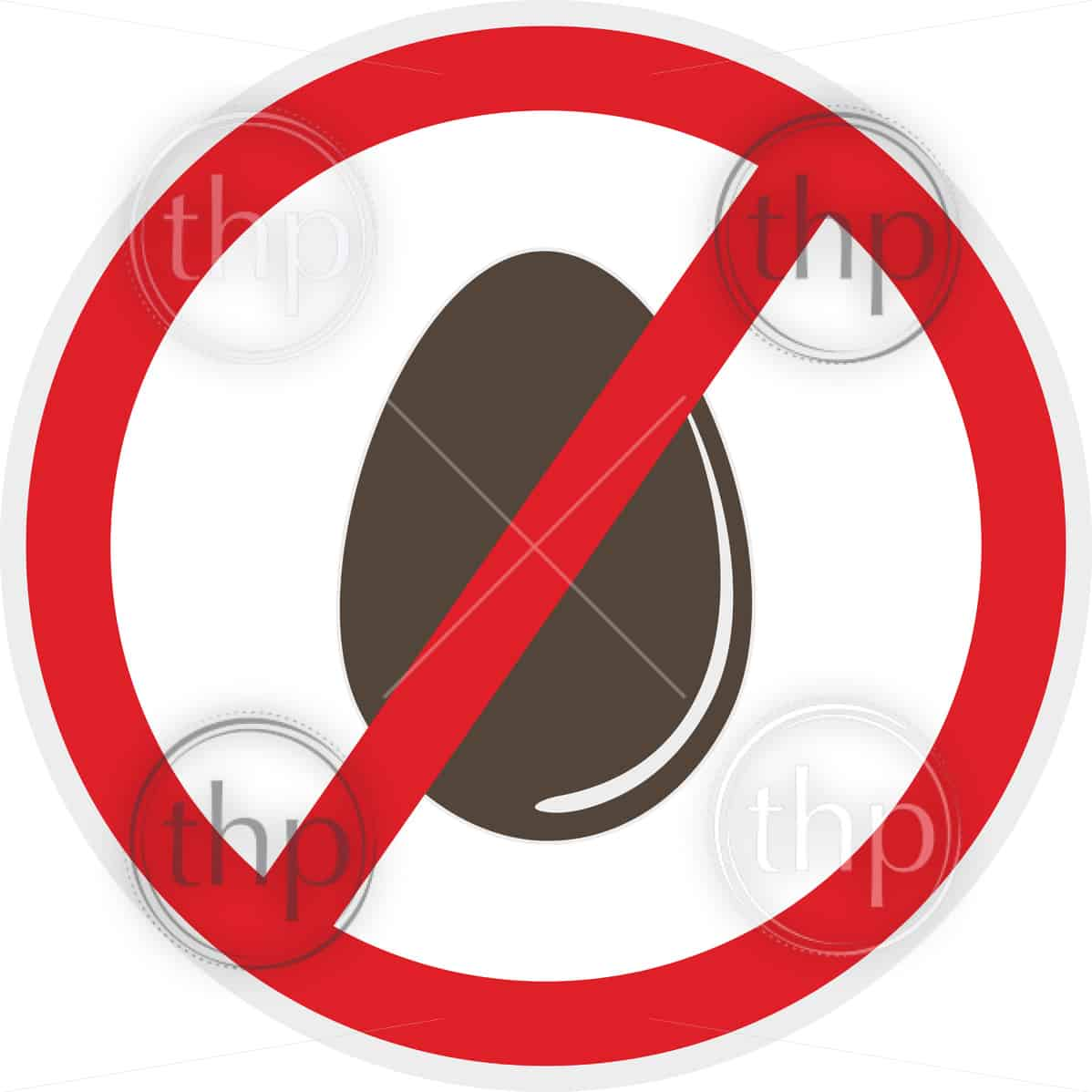 Egg free icon in flat style for food allergy concept