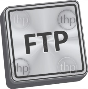 FTP button 3D key in brushed metal vector