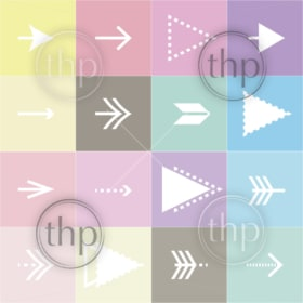 Flat arrows vector collection on pastel background for design elements