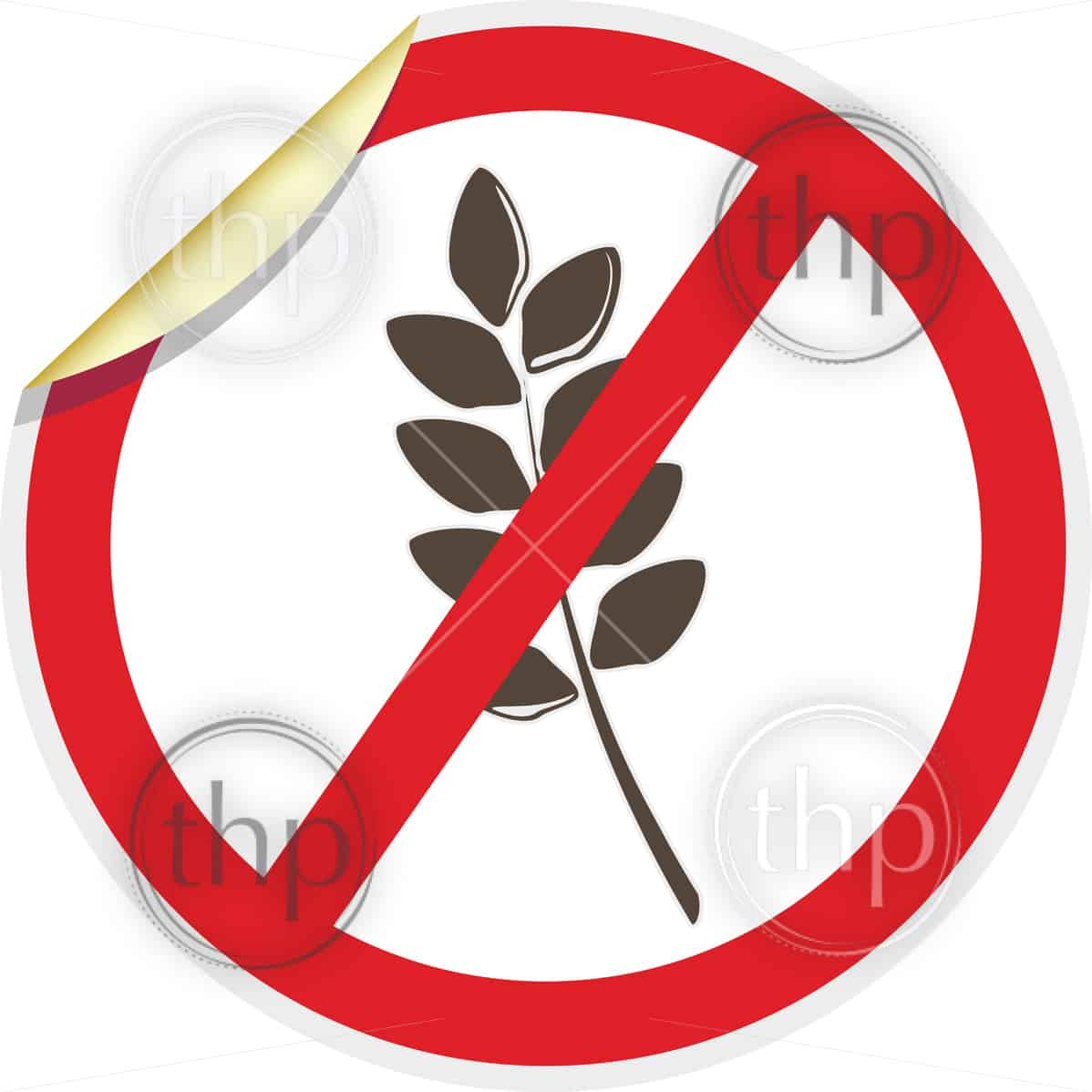 Gluten free icon in 3D style for food allergy concept